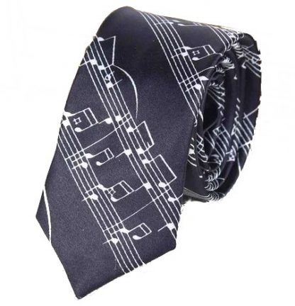 Music Sheet Black & White Tie