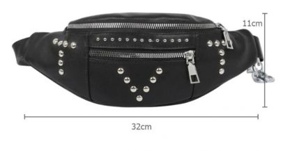 Metal Chain & Studs Waist Bag / Fanny Pack