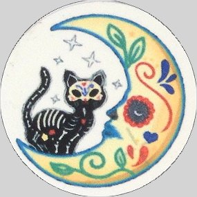 Fridge Magnet #55 -Sugar Skull Cat on the Moon