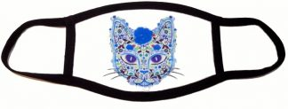 Sugar Skull Kitty Face Mask - Blue