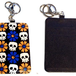 Card Holder Key Chain #8 Skulls & Daisies