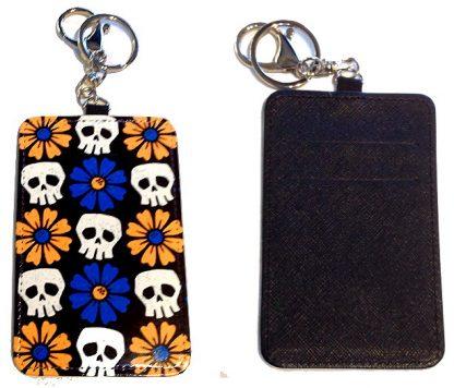 Card Holder Key Chain #8 Skulls & Daisies
