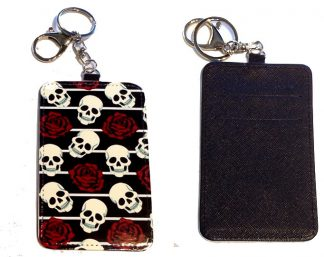 Card Holder Key Chain #9 Skulls & Roses
