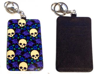Card Holder Key Chain #10 Skulls & Wings