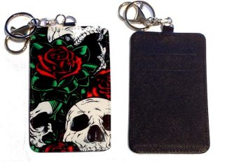 Card Holder Key Chain #31 Roses & Skulls Tattoo Style