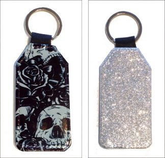 Sparkles & Patterns Key Chain #2 B&W Roses & Skulls Tattoo Style