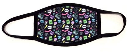 Wiccan Witch & Ouija Print Face Mask - Black Border