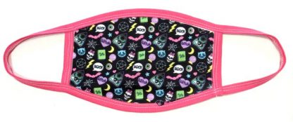 Wiccan Witch & Ouija Print Face Mask - Pink Border