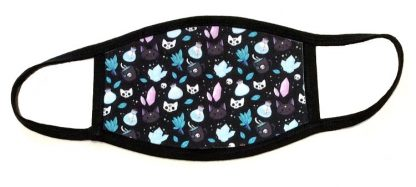 Wiccan Cats & Crystals Print Face Mask - Black Border