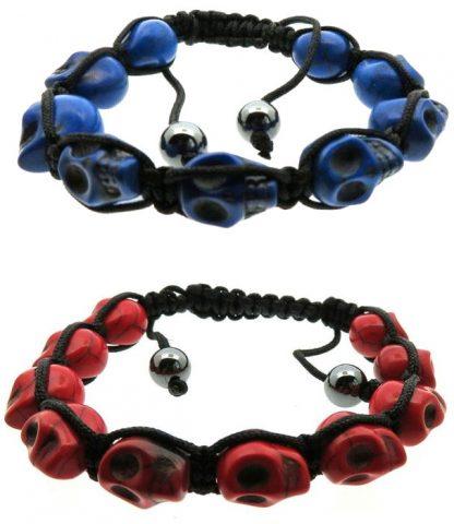 Braided Skull Bracelet - Blue or Red