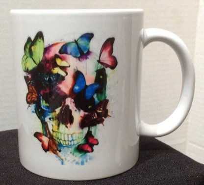 Watercolor Skull & Butterflies Tattoo Porcelain Coffee Mug