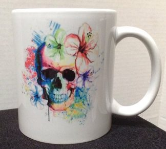 Watercolor Skull Tattoo Porcelain Coffee Mug