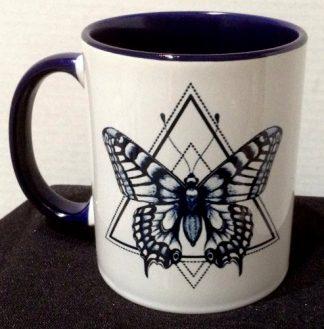 Butterfly Tattoo Art Two-Tone Porcelain Coffee Mug