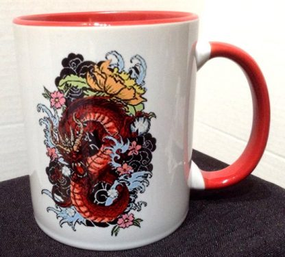 Red Dragon Tattoo Art Two-Tone Porcelain Coffee Mug