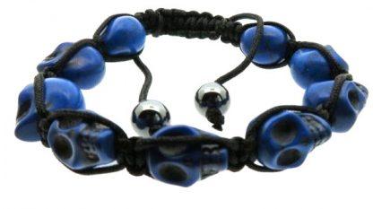 Braided Skull Bracelet - Blue