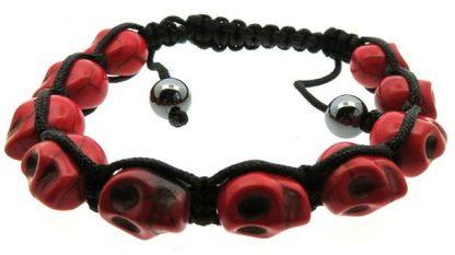 Braided Skull Bracelet - Red