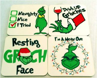 Grinch Christmas Set of 4 Coasters