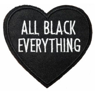 All Black Everything Black Heart Iron-On Patch