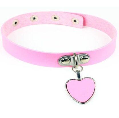 Choker - Dangling Heart PU Leather - pink