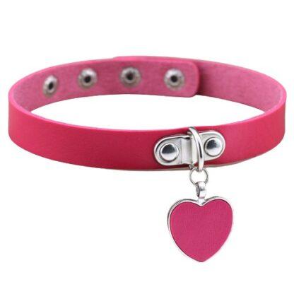 Choker - Dangling Heart PU Leather - fuschia