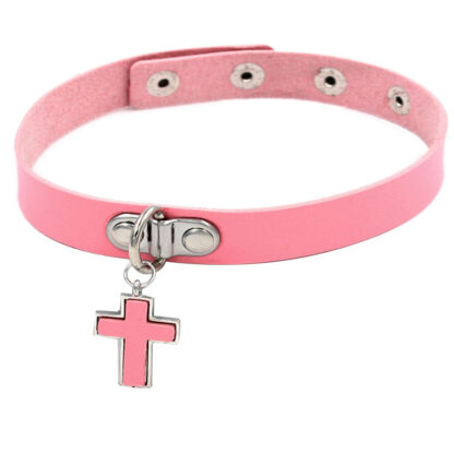 Choker - Dangling Cross PU Leather - Pink
