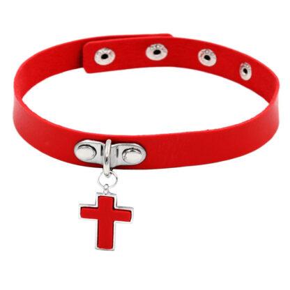 Choker - Dangling Cross PU Leather - Red