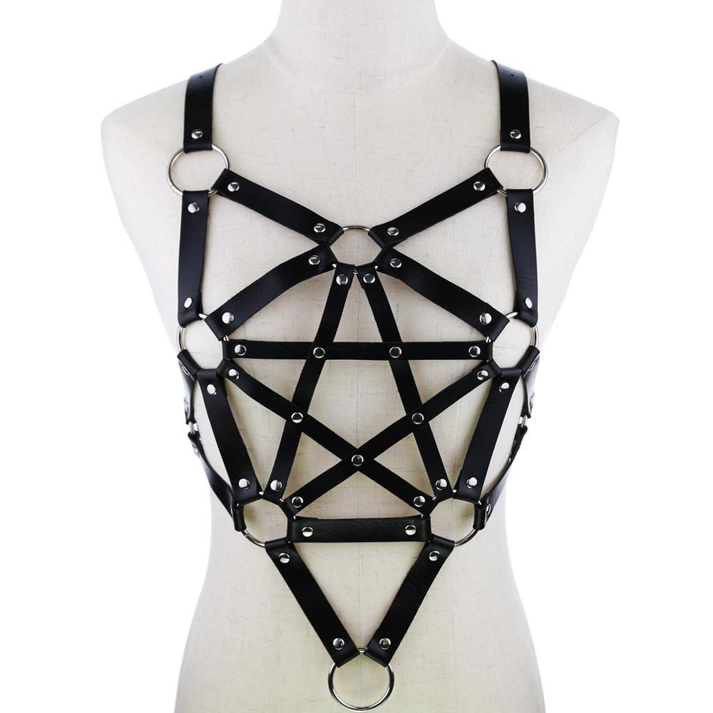 PU Leather Long Line Pentagram Chest Harness - Black