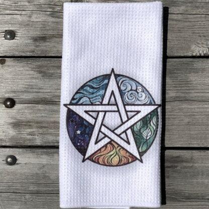 Wiccan Pentagram Dish Towel
